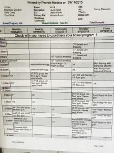 This weeks schedule
